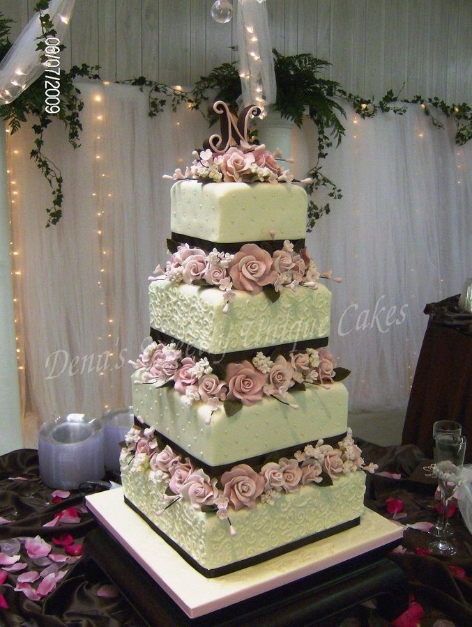 Square Wedding Cakes With Flowers And Tiers 10 12 Inch