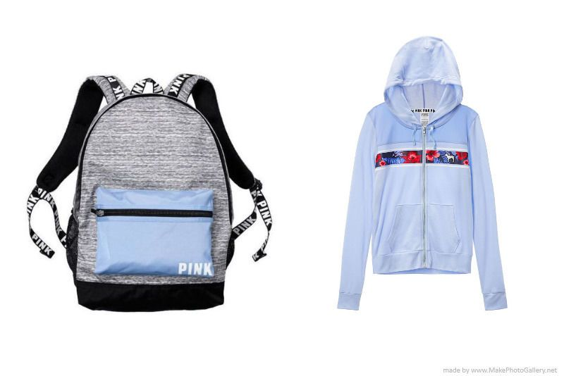 f5c419a5c3 Victoria Secret PINK Campus Backpack Gray Morning Sky Blue Hoodie M  Tropical NWT  VictoriasSecret  Backpack