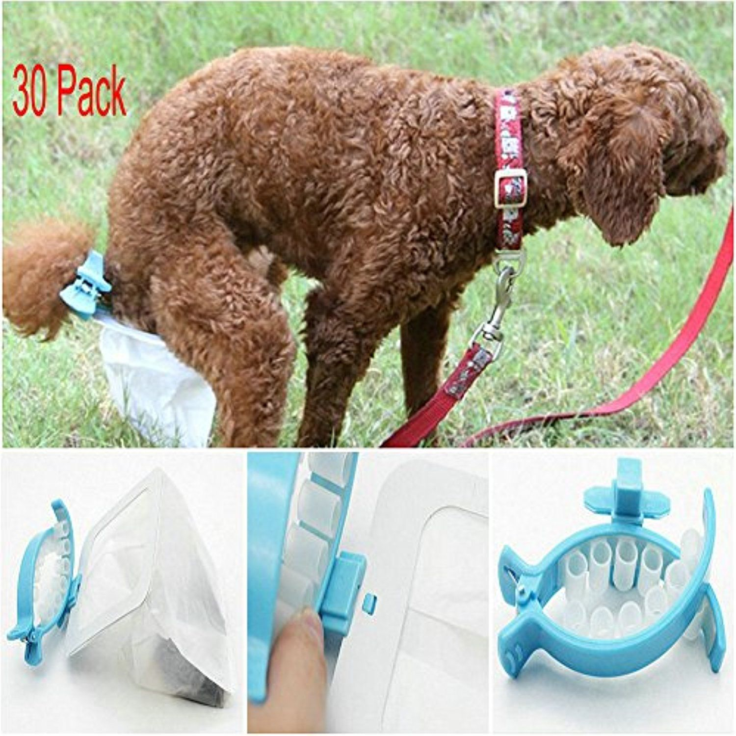 d0f0433904 Hand Free Dog Poo Collector Before Dog Poop Landing Wearable Nylon Bag  Container with Soft Clip Avoid Stool Anywhere (30pcs Bags size L)    For  more ...