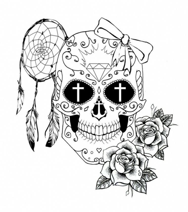 Teschi messicano tattoo una proposta con diversi simboli for Colorare le rose