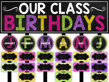 Birthday Chart Chalkboard And Editable Birthday Charts