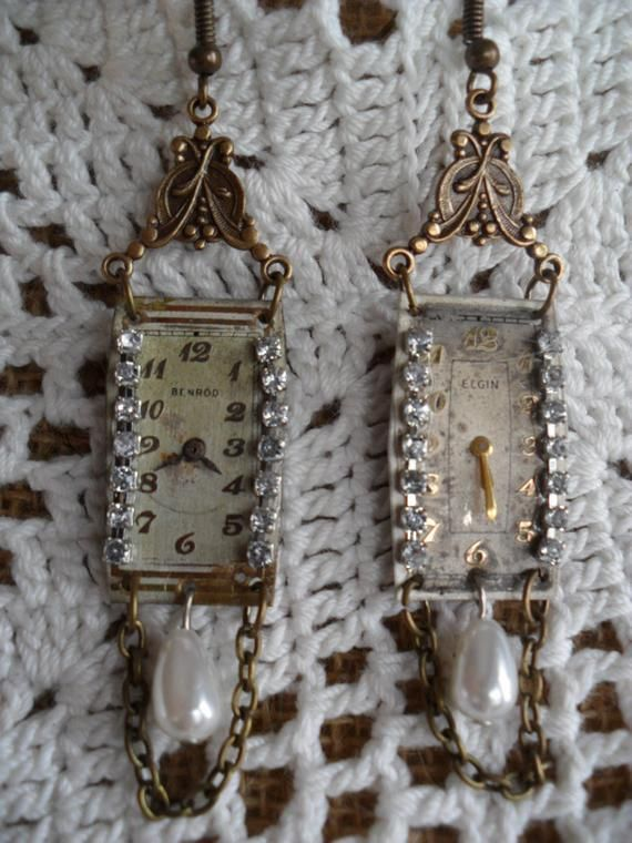 Items similar to Art Deco Vintage Watch Face Earrings on Etsy #vintagewatches