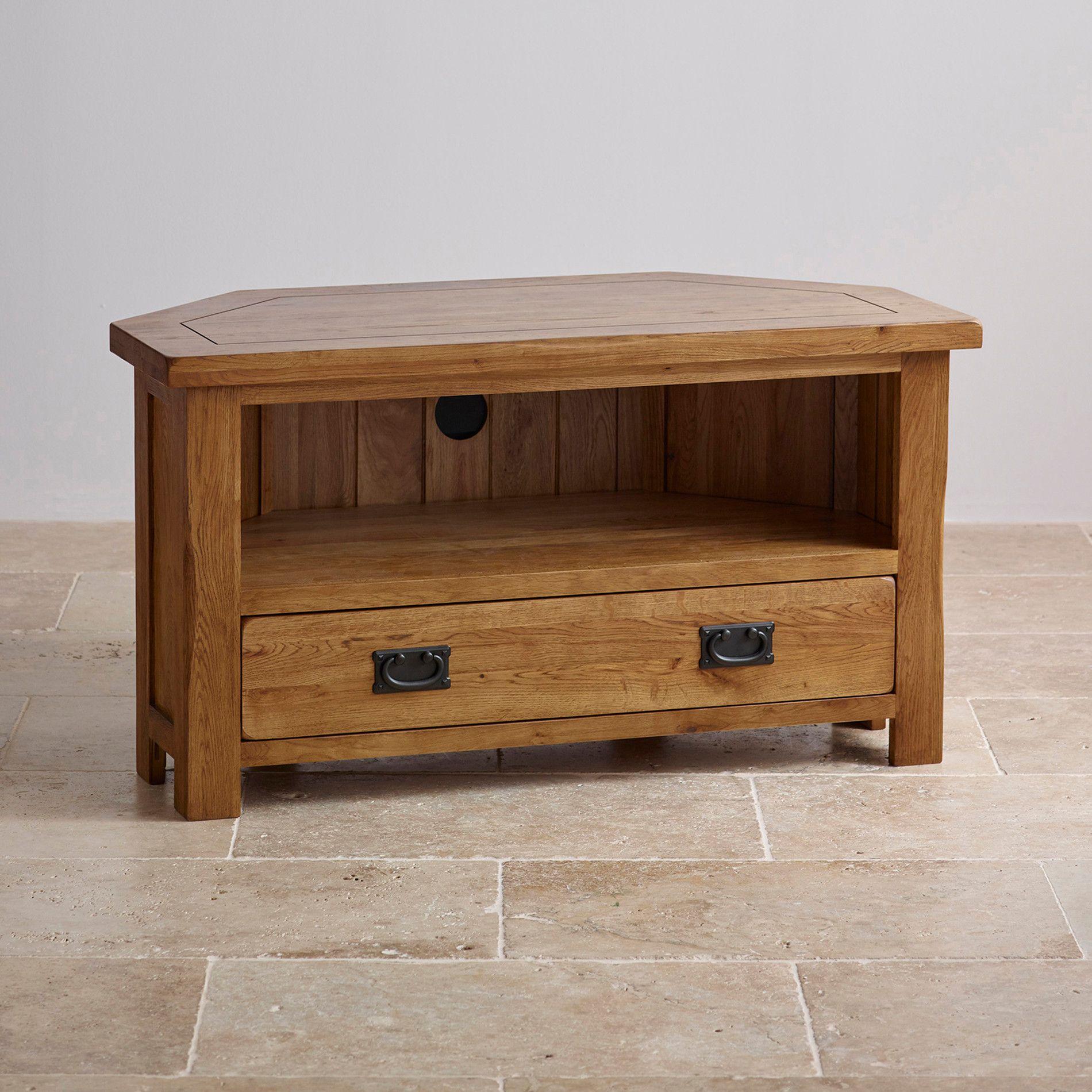 Rustic Corner Tv Unit In Solid Oak Oak Furnitureland Corner Tv Stand Rustic Oak Corner Tv Unit Oak Furniture Land