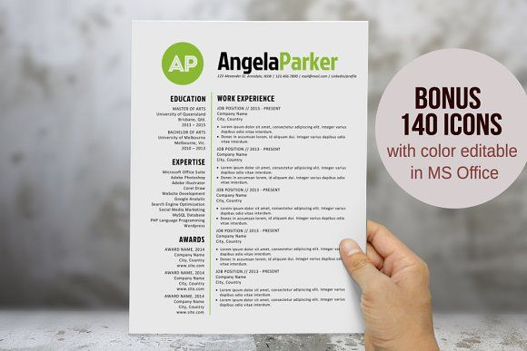 Round bold initials resume template by Inkpower on @creativemarket - create resume format