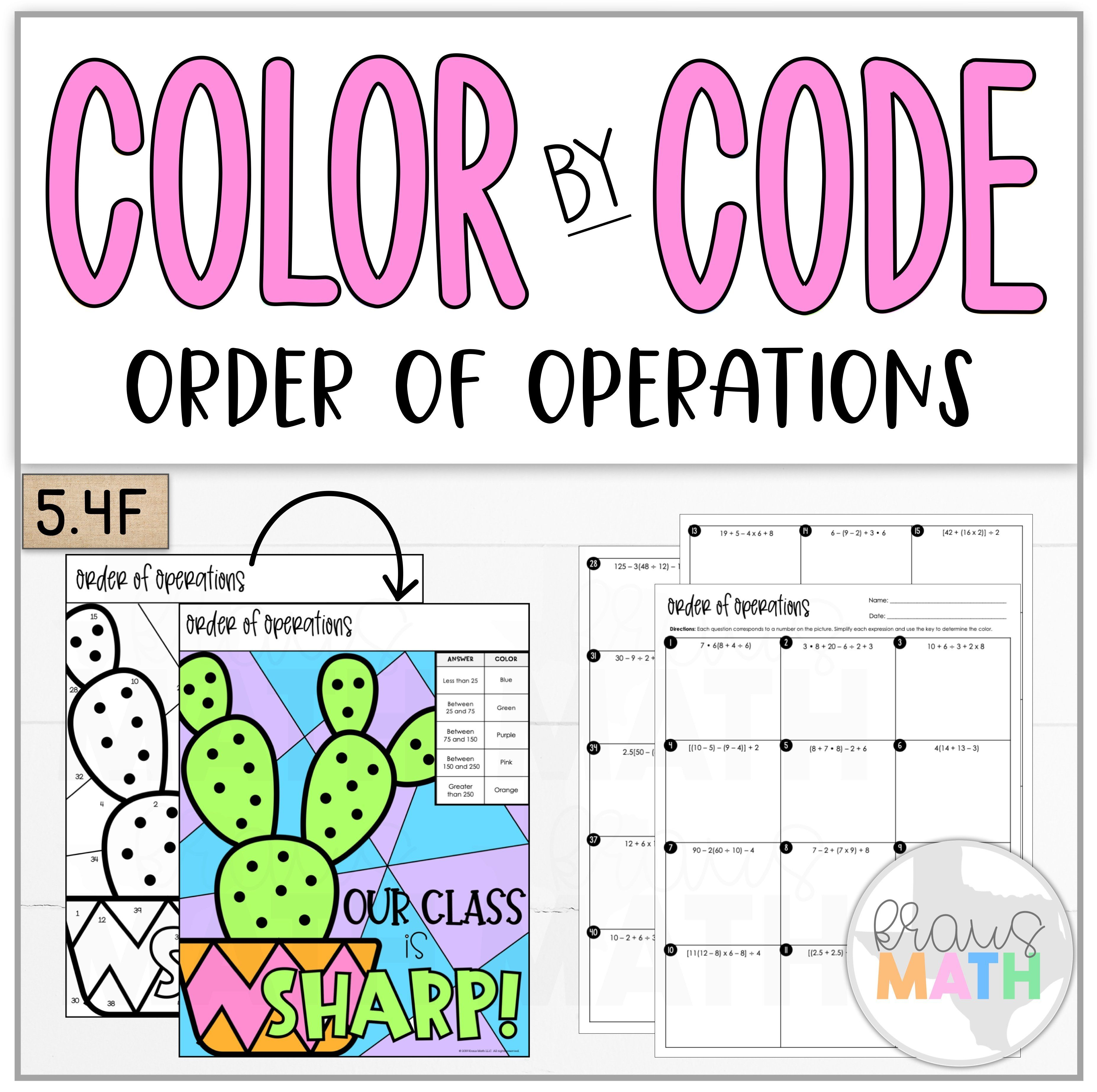 Color By Number Cactus Order Of Operations Teks 5 4f