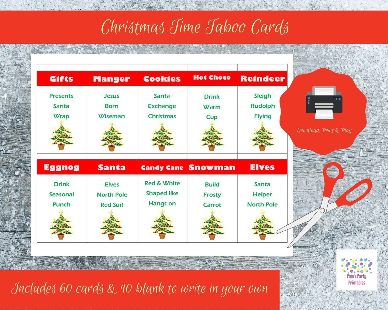 Printable Christmas Game Cards For Taboo Group Game Family Etsy Printable Christmas Games Taboo Game Card Games