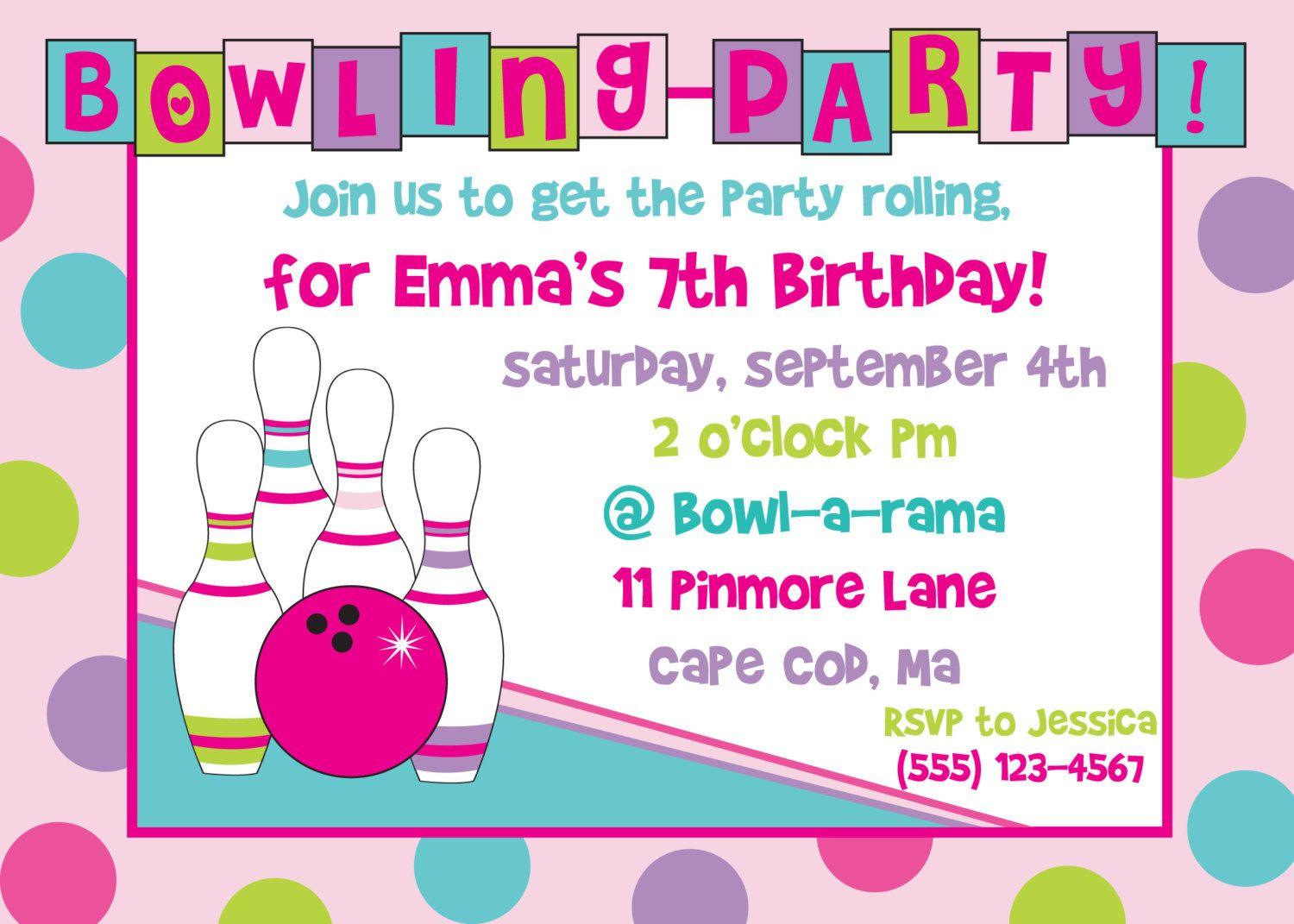 Free Bowling Birthday Party Invitations | Party Ideas for Kids ...