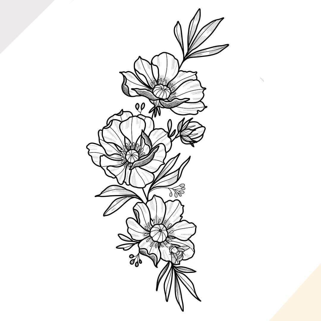 Nathalybonilla Floral Tattoo Design Tattoo Outline Tattoos