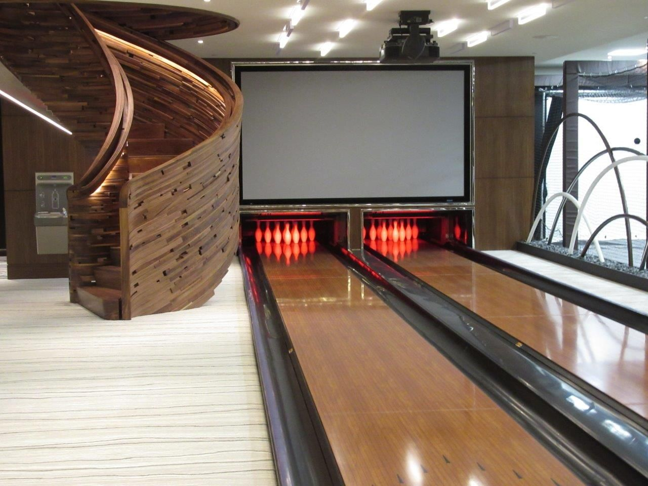 Pin By Patti Leone On Bowling Alley Bar Bowling Seating Area To The Side Of Bowling Alley Arcade Games Game Room Decor Game Room Gaming Decor