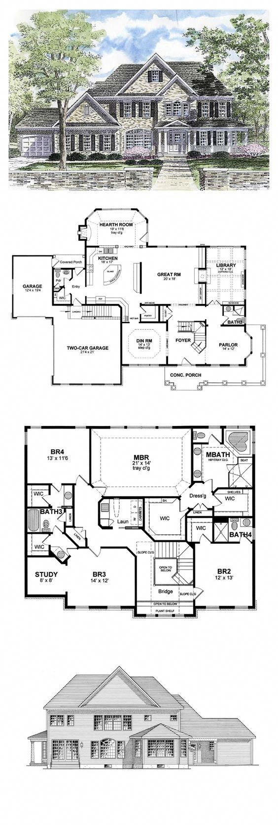 COOL House Plan ID: chp-44788 | Total Living Area: 3859 sq. ft., 4 bedrooms & 4.5 bathrooms.