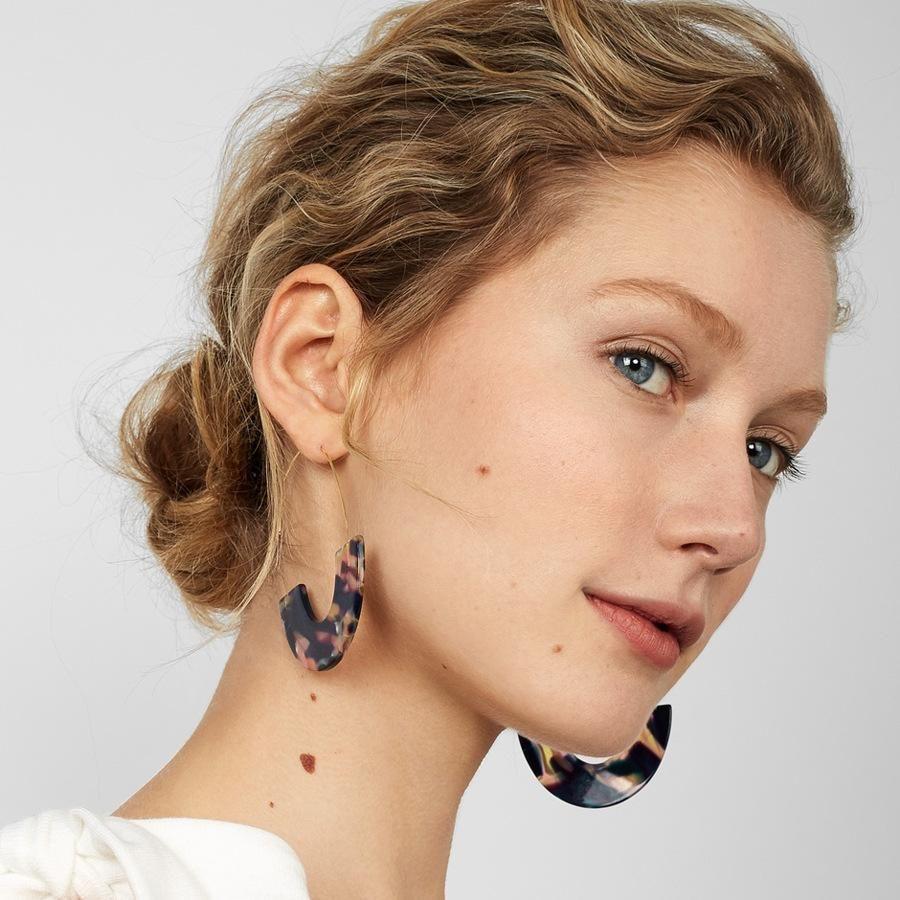 Statement Mottled Leopard Acrylic Ear Dangle Drop Earrings Women Resin Jewelry