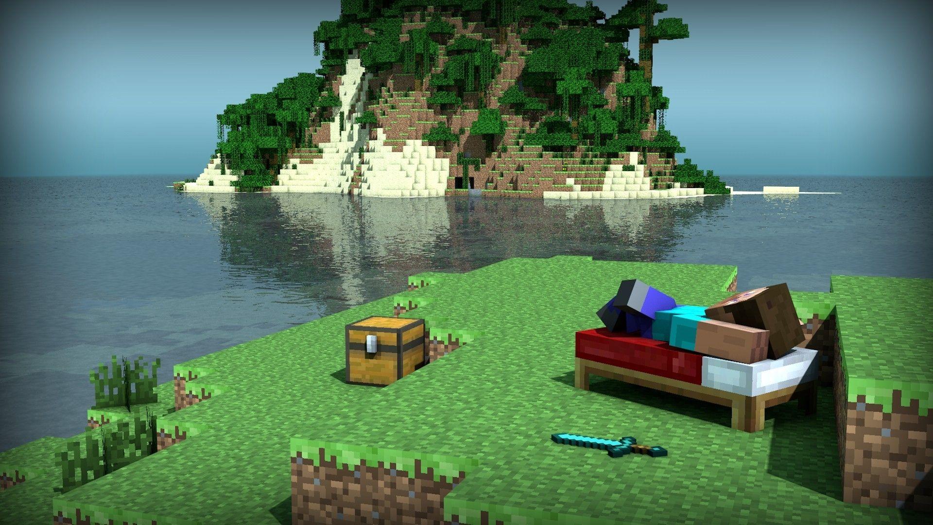 Minecraft Wallpaper For Bedroom Video Games Trees Wood Forest Beds Steve Islands Pixels Minecraft