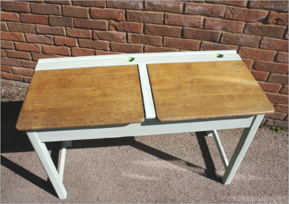 Vintage Double School Desk Hand Painted In A Mix Of Annie Sloan Chalk Paints