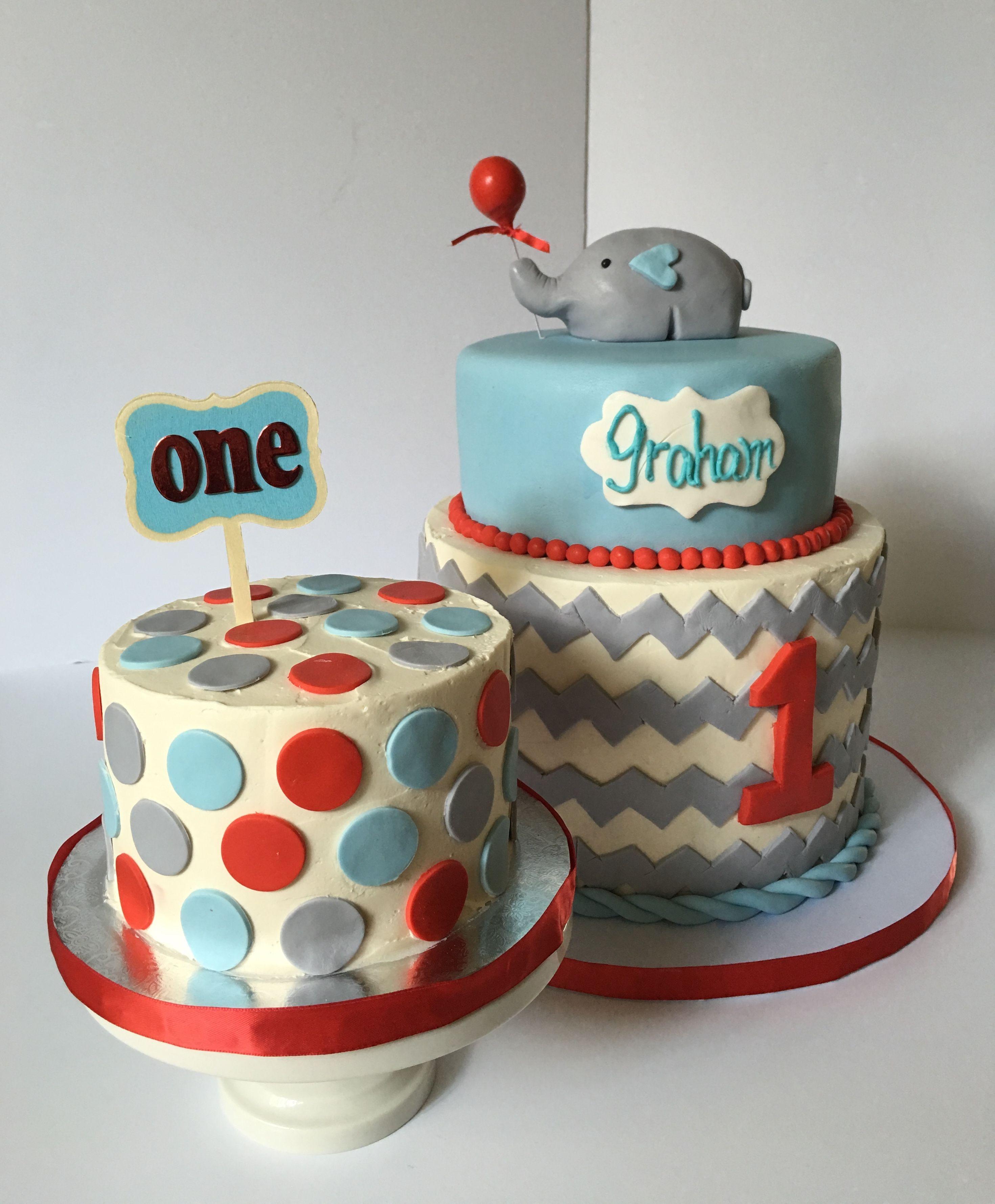 Blue gray red chevron elephant birthday cake smash cake