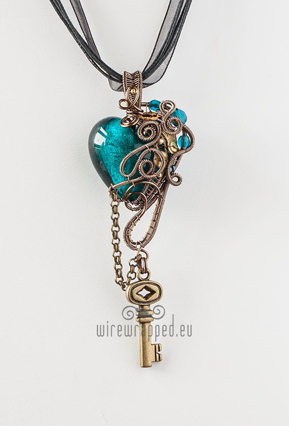 OOAK teal steampunk wire wrapped heart pendant with key | Pinterest ...