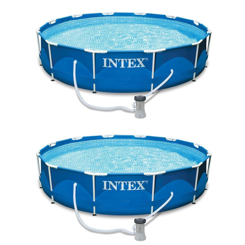 Intex 12 Ft X 30 In Round Metal Frame Set Above Ground Swimming Pool With Filter 2 Pack Blue Swimming Pool Filters Above Ground Swimming Pools Pool Filters