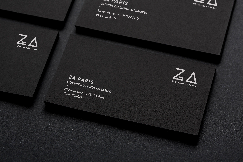 Plusieurs Cartes De Visite Minimaliste Pour Le Restaurant Za Paris
