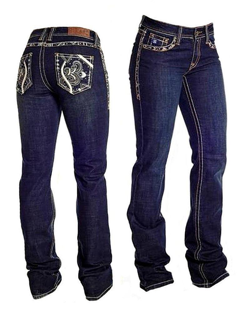 4d2a20a3 Cowgirl Tuff Co. Denim Cactus Jeans Womans Dark Wash 31X34 (11/12) # CowgirlUp #BootCut