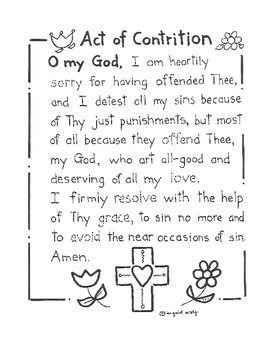 photograph about Act of Contrition Prayer Printable named Act of Contrition (more mature model of the prayer) outfits