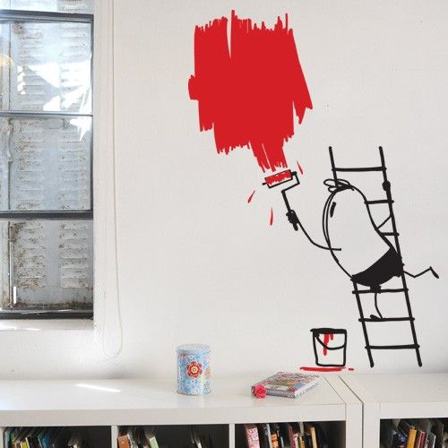 Create your own decorative space with fun vinyl wall stickers. This Painting Wally removable decal & Create your own decorative space with fun vinyl wall stickers. This ...