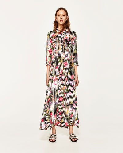 0e8ec7d1f542 LONG STRIPED AND FLORAL PRINT DRESS-NEW IN-WOMAN | ZARA Canada ...