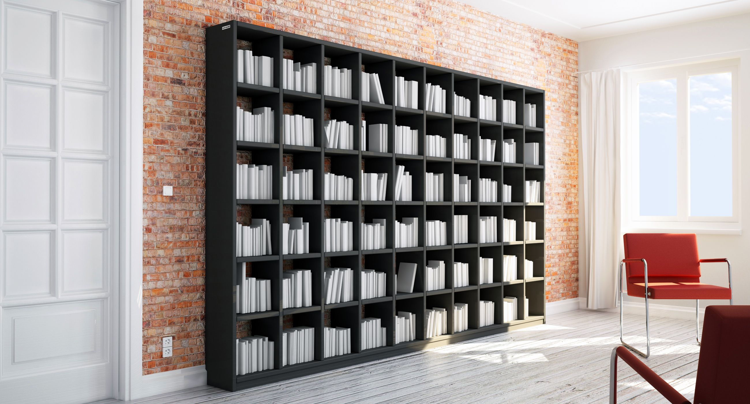 b cherregal nach ma in mdf holz schwarz alle ma e wie. Black Bedroom Furniture Sets. Home Design Ideas