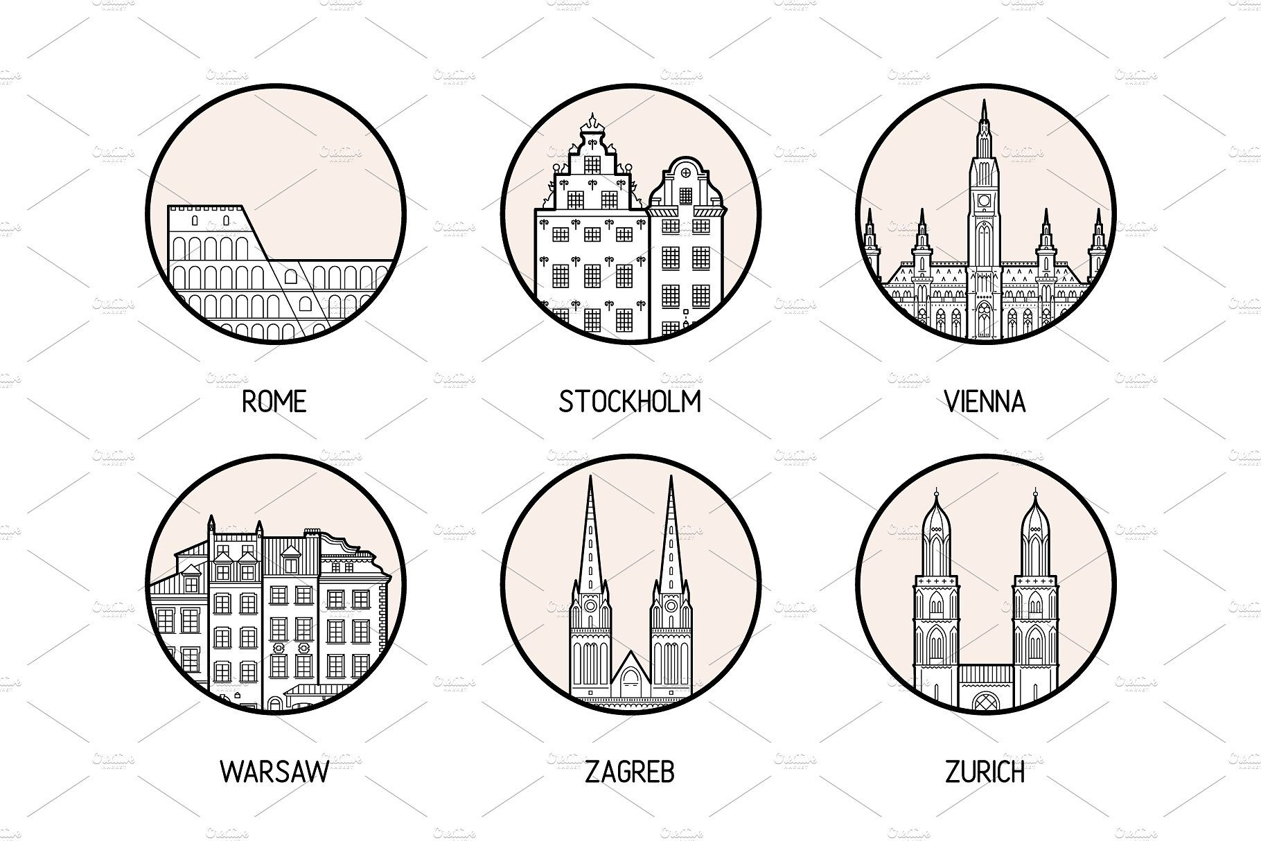 Icons Of 30 European Cities City Icon Icon Black And White Stickers