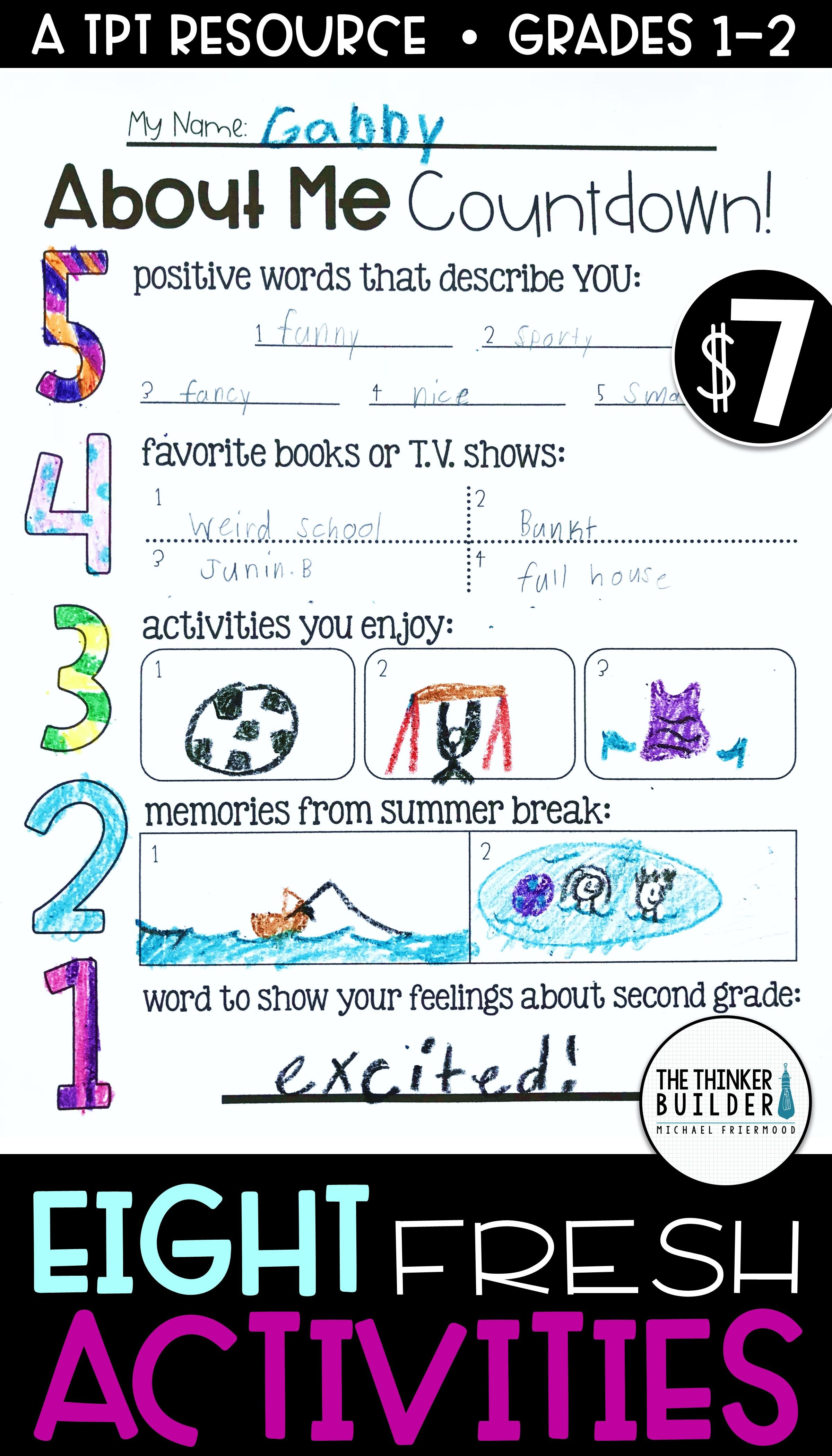 Back To School Activities Grades 1 2 Get To Know You