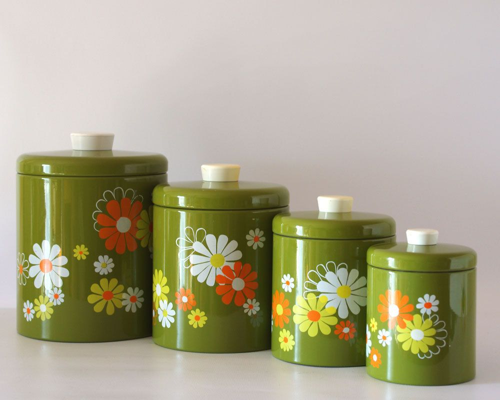 Vintage Ransburg Canister Set Avocado With White (Etsy Page)   I May Or May