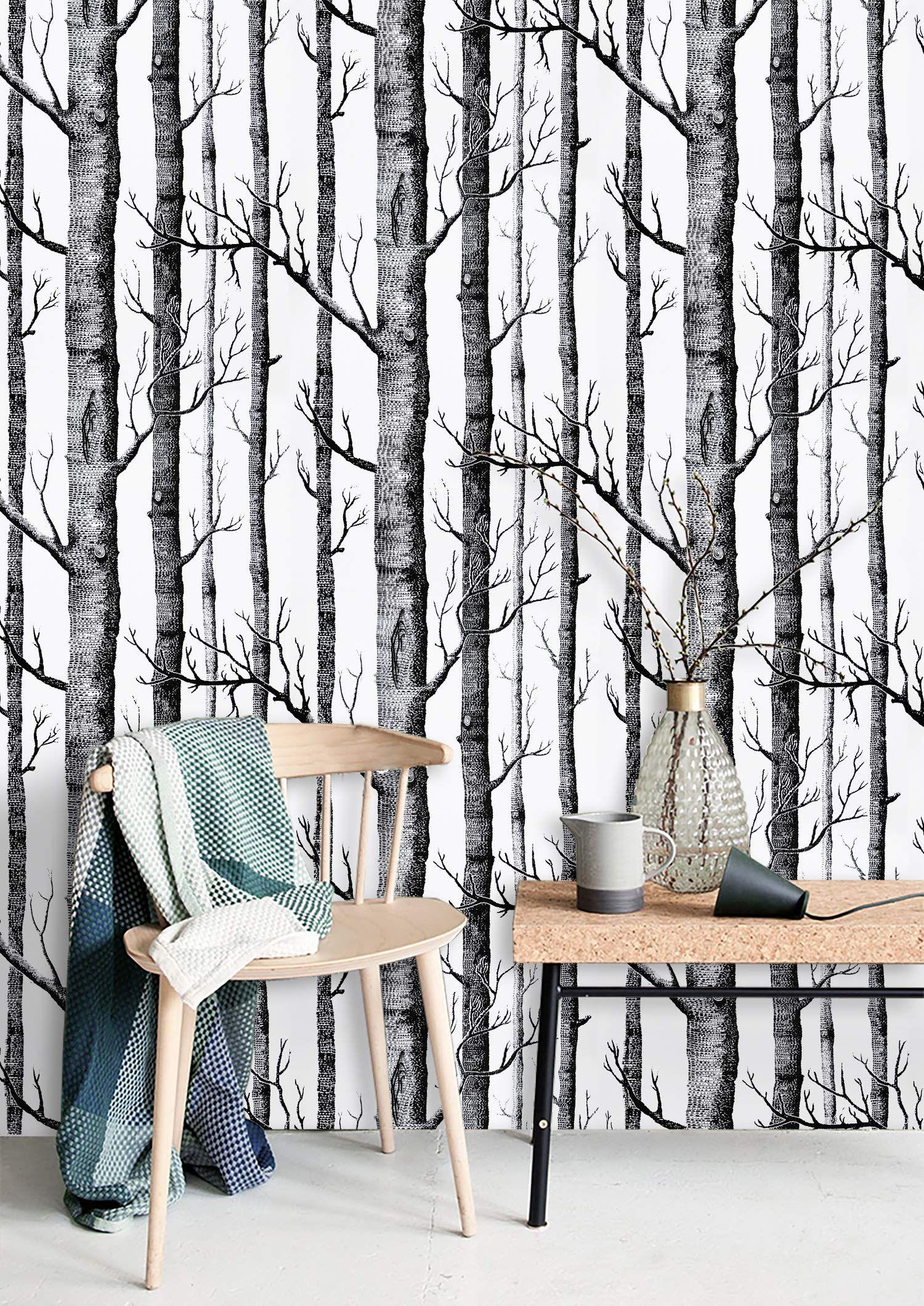 17 7 X 118 Birch Tree Wallpaper Black And White Peel And Stick Wallpaper Black Contact Pap Tree Wallpaper Black And White Birch Tree Wallpaper Wall Coverings