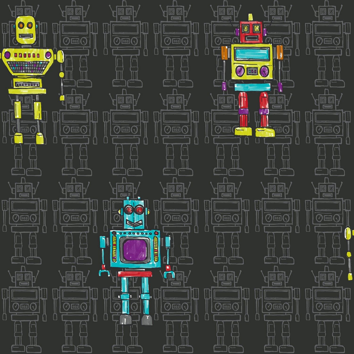 Retro Robot Kids Wallpaper 534000 Black With Blue Green Red