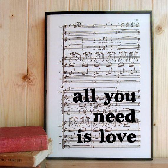 Beatles Letras de impresión del arte tipográfico en por BookishlyUK ...