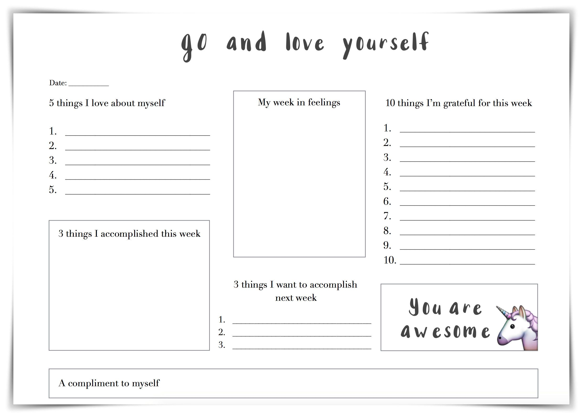 Self Esteem Worksheet For Adults In