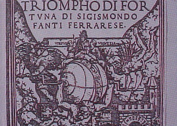 """Frontispiece from """"Di Fortuna,"""" a book on astrology printed in Rome with the approval of Pope Clement VII in 1526. Atlas holds the universe, operated by the forces of good and evil of the Persian Mithra religion. The pope is seated on the circle of the Zodiac as the cosmic ruler, the sun god."""