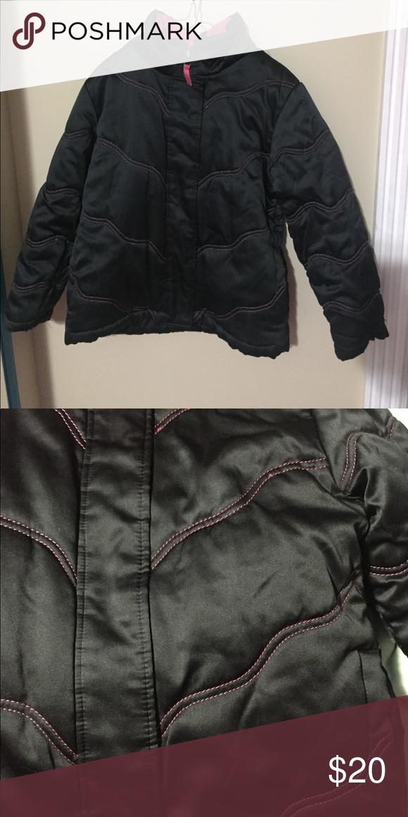 6ececdf18 Rothschild Winter Coat 7/8 No Hood, Black sheen with pink threading Rothschild  Jackets & Coats