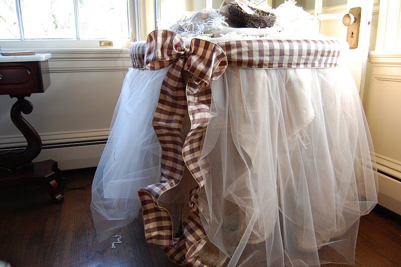 Burlap and organza tableskirt