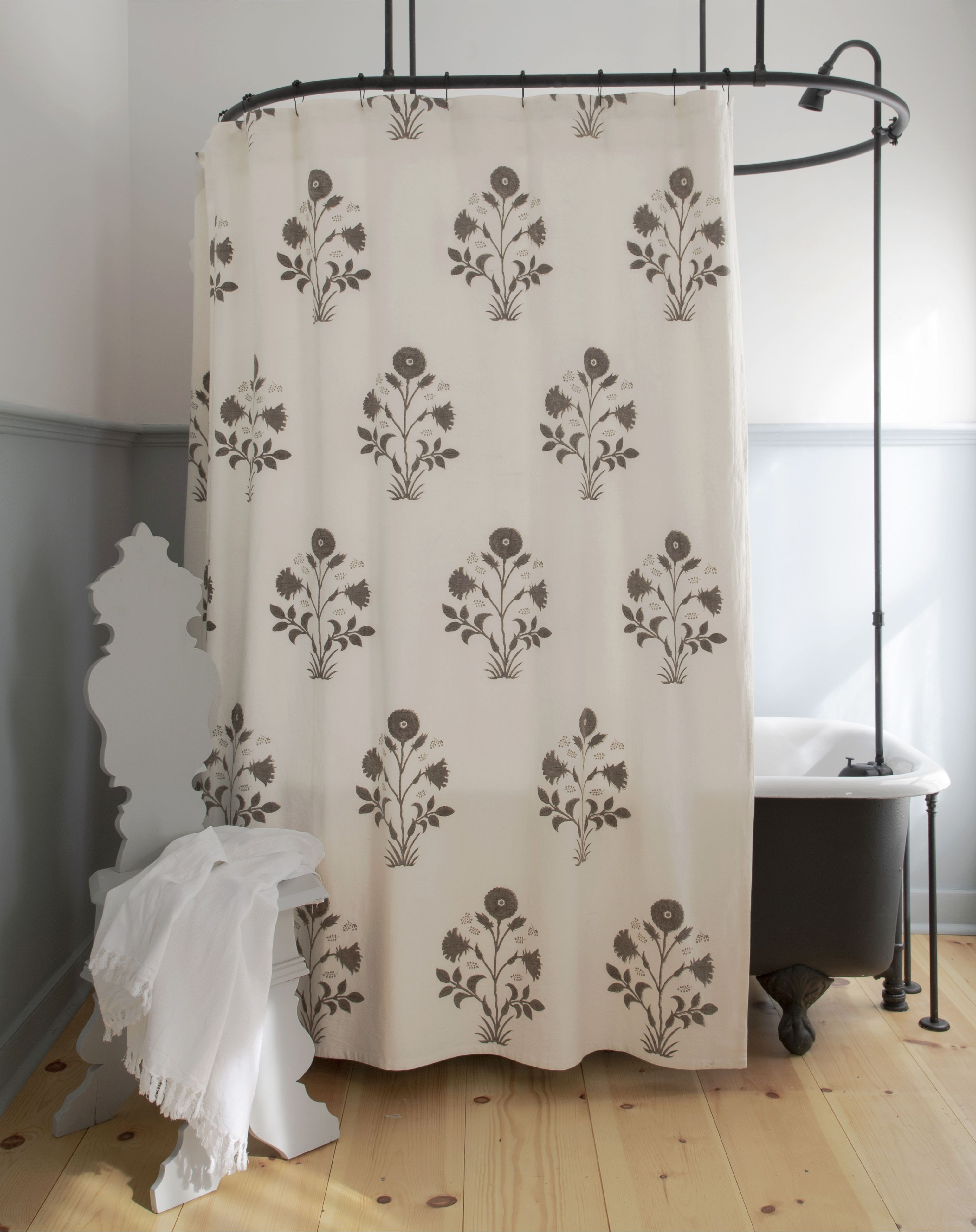Veronique Shower Curtain In French Grey Curtains Panel Curtains