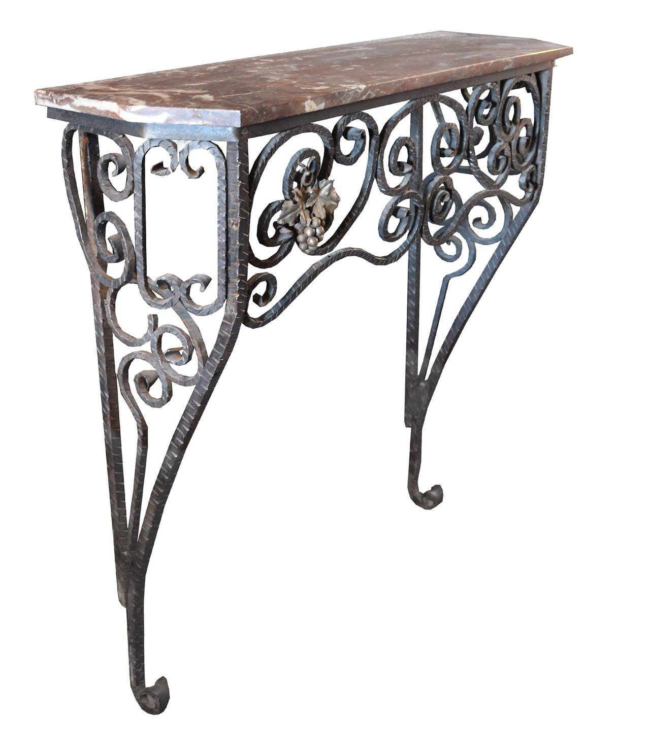 Fer Forge Console Table With Marble Top 2 Arte Em Metal Artes