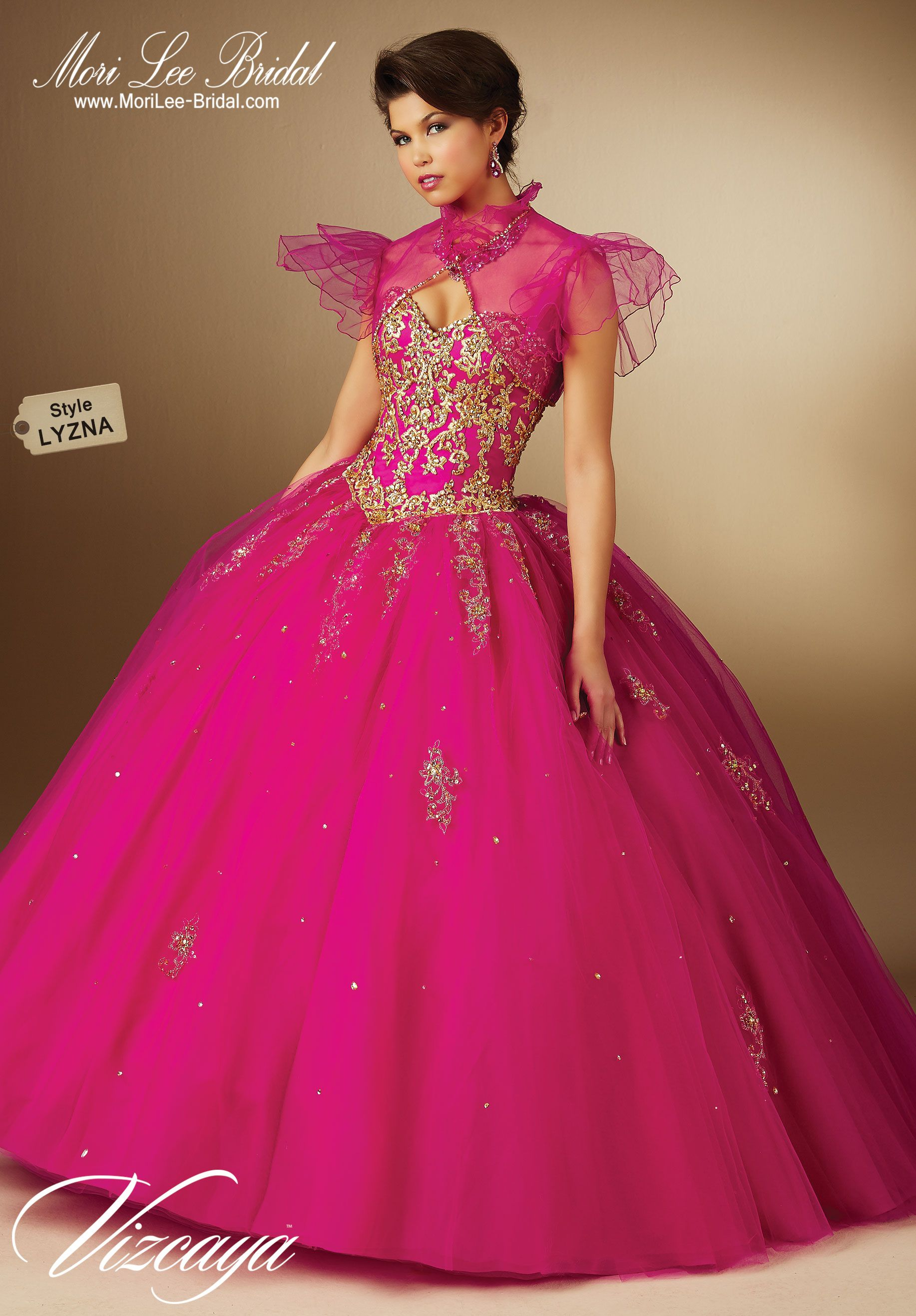 Style LYZNA EMBROIDERED TULLE QUINCEANERA GOWN WITH BEADING. Bolero ...