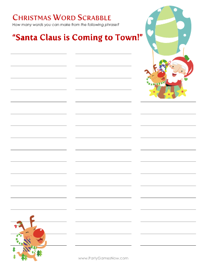 """Santa is Coming to Town"" Word Scrabble - Printable Christmas Games"