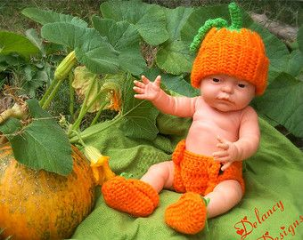 Crochet Pumpkin Hat, Diaper Cover, and Booties Outfit Photo Prop ...