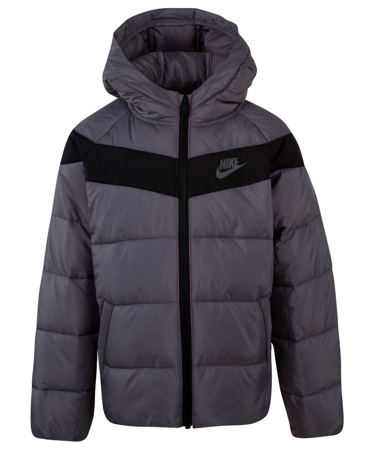 Nike Little Boys Sportswear Hooded Puffer Jacket Gunsmoke Kids Jacket Jackets Puffer Jackets [ 1467 x 1200 Pixel ]