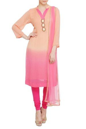 Ombre Peach & Pink Kurti Suit #georgette #embellished #straight #casual #day #brunch #3/4th sleeves #mandarin-collar