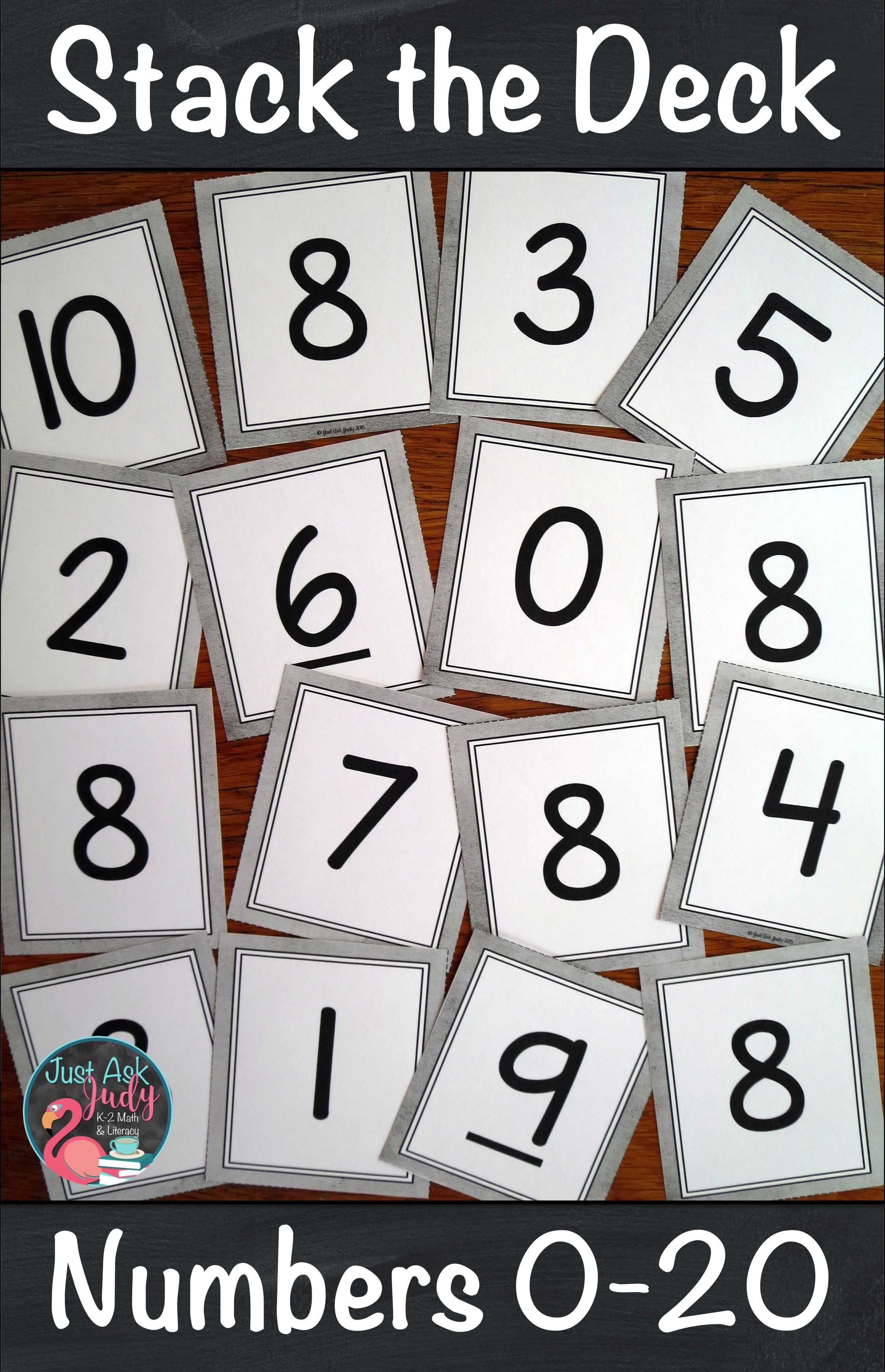 Number Recognition 0-20 Stack the Deck A Flashcard Activity | Just