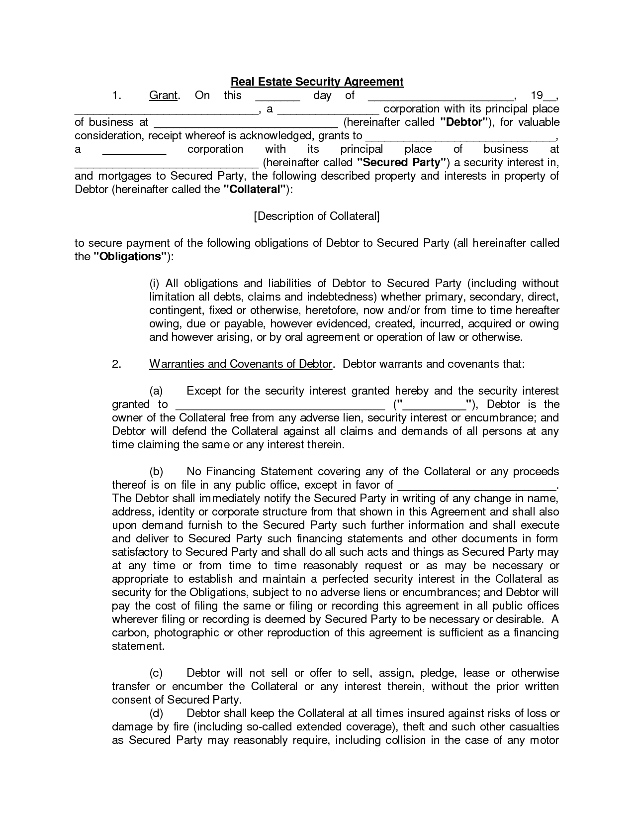 This document is an example of a real estate security agreement A – Security Agreement