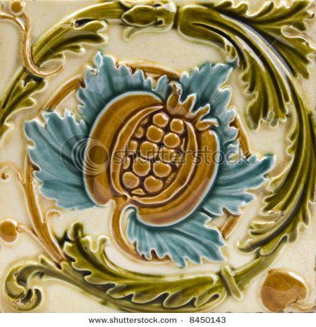 An Art Nouveau antique majolica tile dating around 1895
