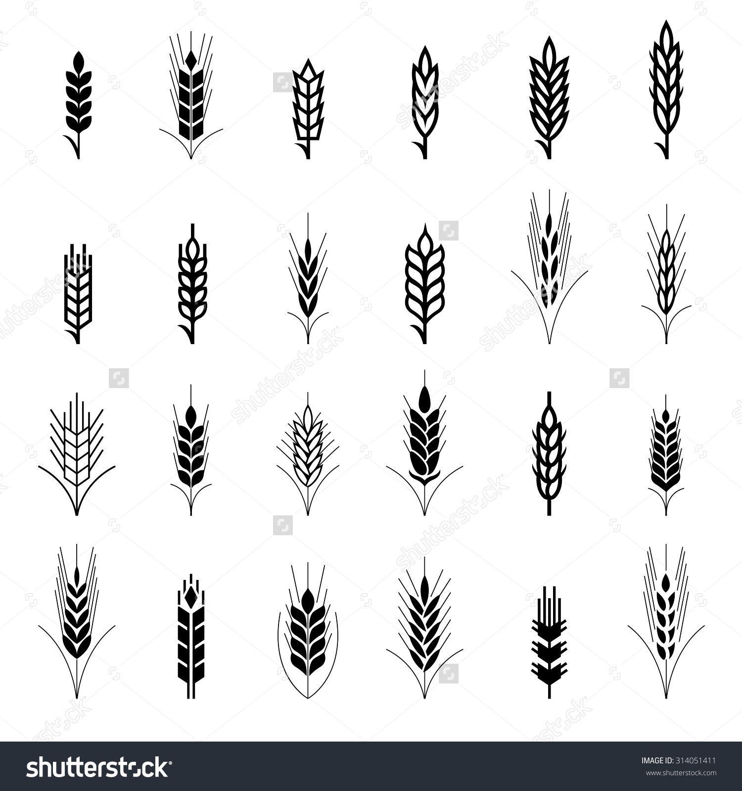 Stock Vector Wheat Ear Symbols For Logo Design Agriculture Grain