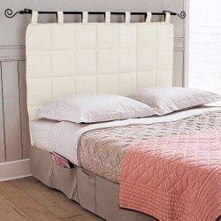 cojn de cabecero de cama con un bonito acabado de cordones anchos que le aportan mucho - Cabeceros Con Cojines