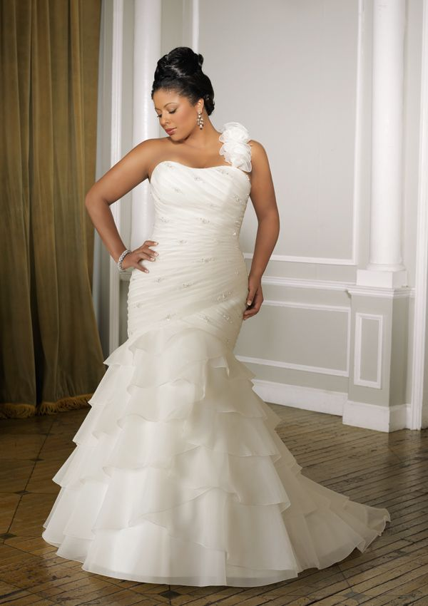 Hot White Ivory One Shoulder Organza Mermaid Wedding Dress Bridal Gown Plus Size