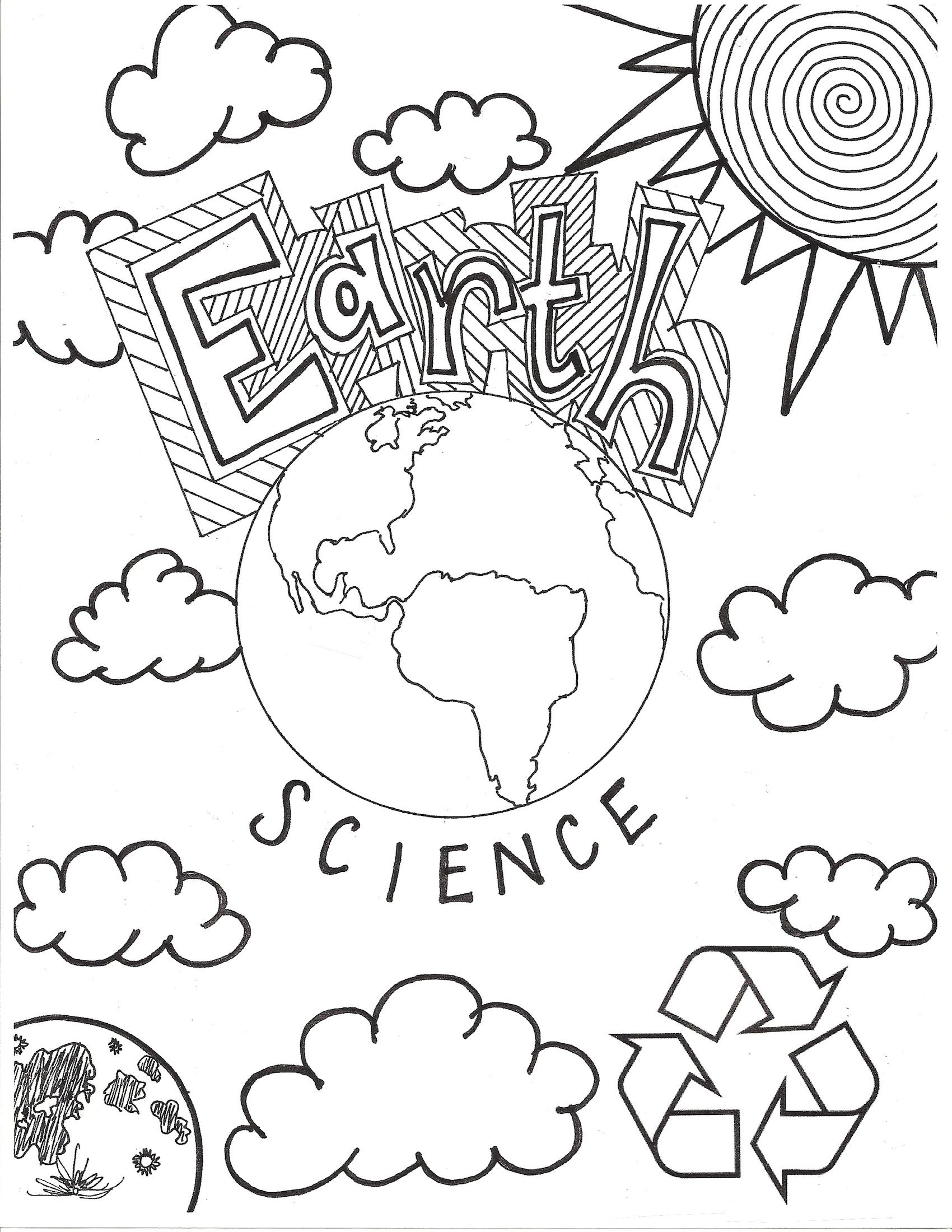 Summer coloring pages for middle school - Earth Science Coloring Page Cover Page Middle School